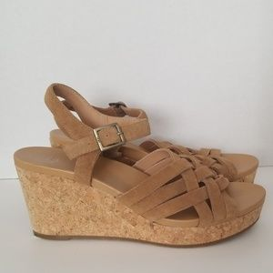UGG suede corkscrew wedge sandals